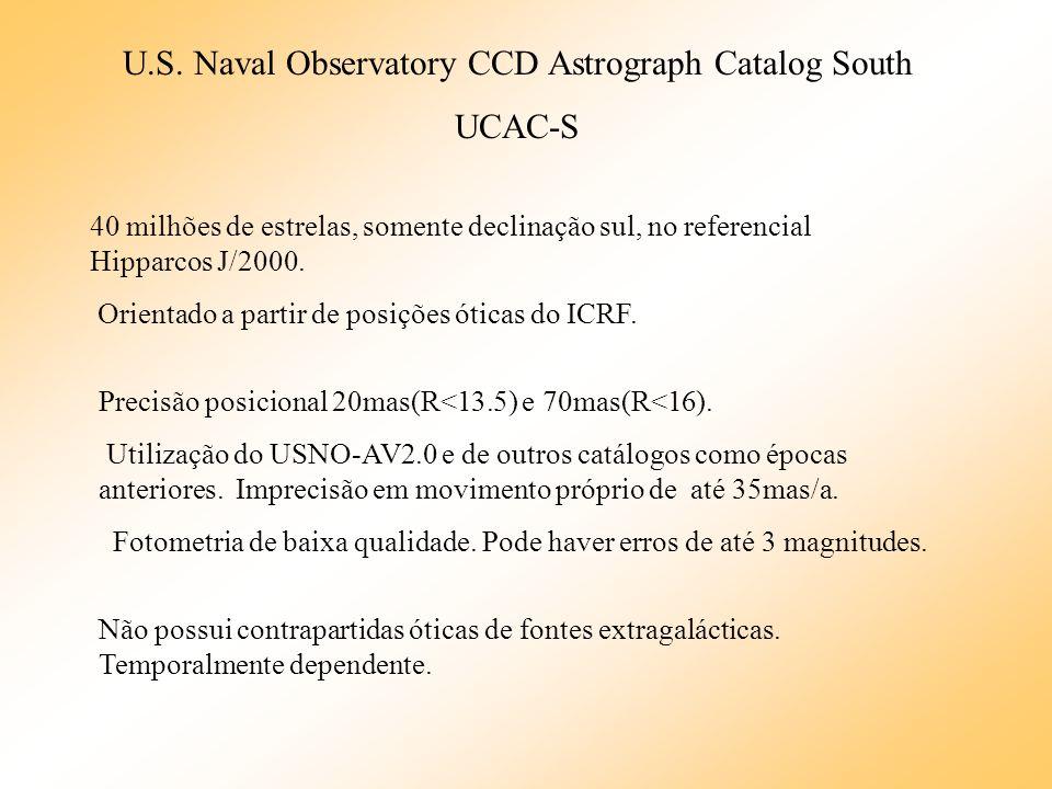 U.S. Naval Observatory CCD Astrograph Catalog South UCAC-S 40 milhões de estrelas, somente declinação sul, no referencial Hipparcos J/2000. Orientado