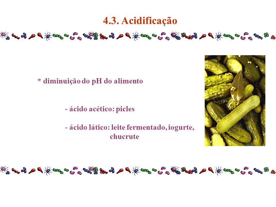 * diminuição do pH do alimento - ácido acético: picles - ácido lático: leite fermentado, iogurte, chucrute 4.3. Acidificação