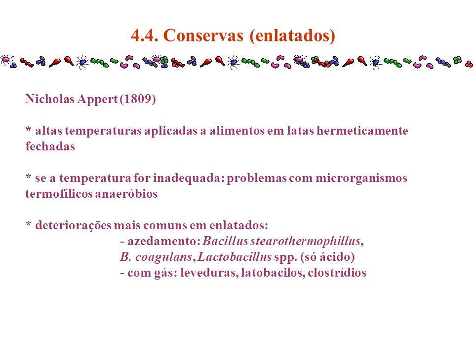 4.4. Conservas (enlatados) Nicholas Appert (1809) * altas temperaturas aplicadas a alimentos em latas hermeticamente fechadas * se a temperatura for i