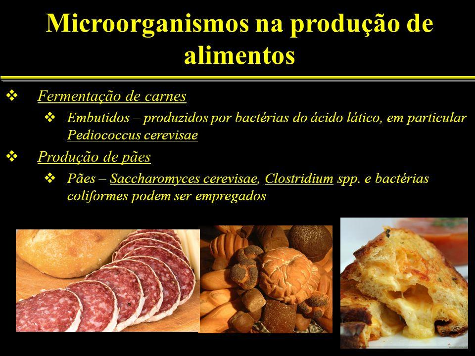Fermentação de carnes Embutidos – produzidos por bactérias do ácido lático, em particular Pediococcus cerevisae Produção de pães Pães – Saccharomyces