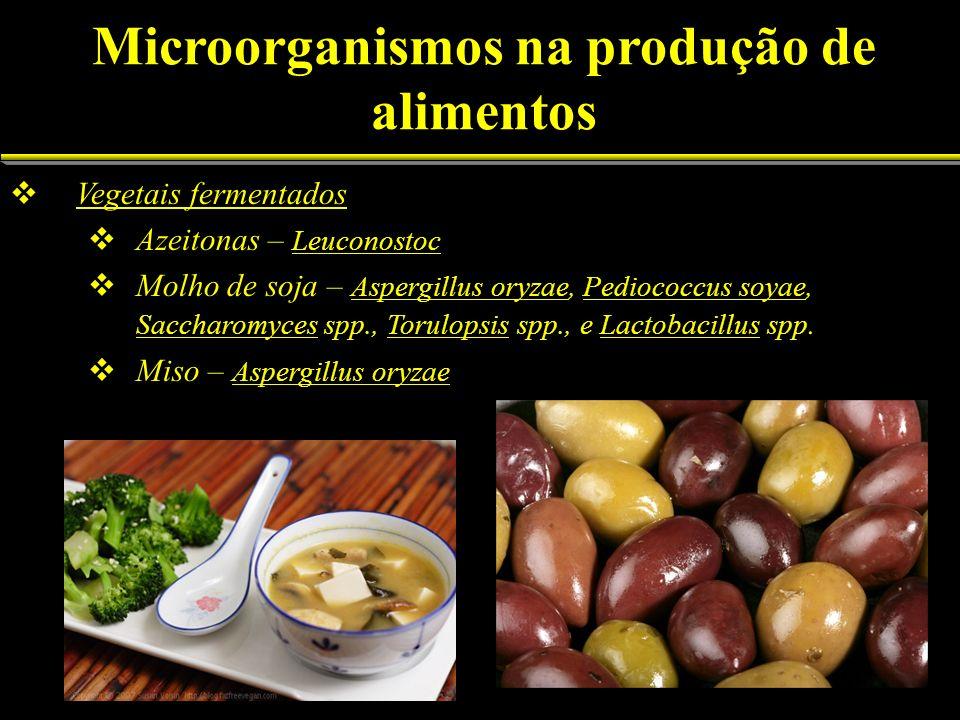 Vegetais fermentados Azeitonas – Leuconostoc Molho de soja – Aspergillus oryzae, Pediococcus soyae, Saccharomyces spp., Torulopsis spp., e Lactobacill