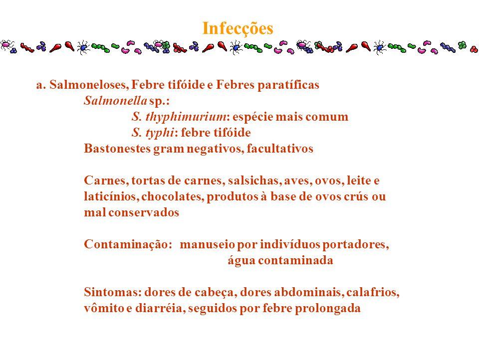 Infecções a. Salmoneloses, Febre tifóide e Febres paratíficas Salmonella sp.: S. thyphimurium: espécie mais comum S. typhi: febre tifóide Bastonestes