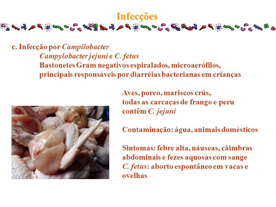 c. Infecção por Campilobacter Campylobacter jejuni e C. fetus Bastonetes Gram negativos espiralados, microaerófilos, principais responsáveis por diarr
