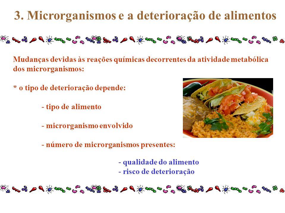 3. Microrganismos e a deterioração de alimentos Mudanças devidas às reações químicas decorrentes da atividade metabólica dos microrganismos: * o tipo