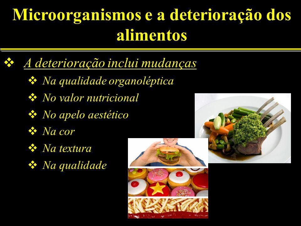Fatores envolvidos na deterioração Físicos: luz, temperatura, pressão osmótica, pressão hidrostática Químicos: pH, O 2 Biológicos: insetos, microorganismos, roedores Microorganismos e a deterioração dos Alimentos