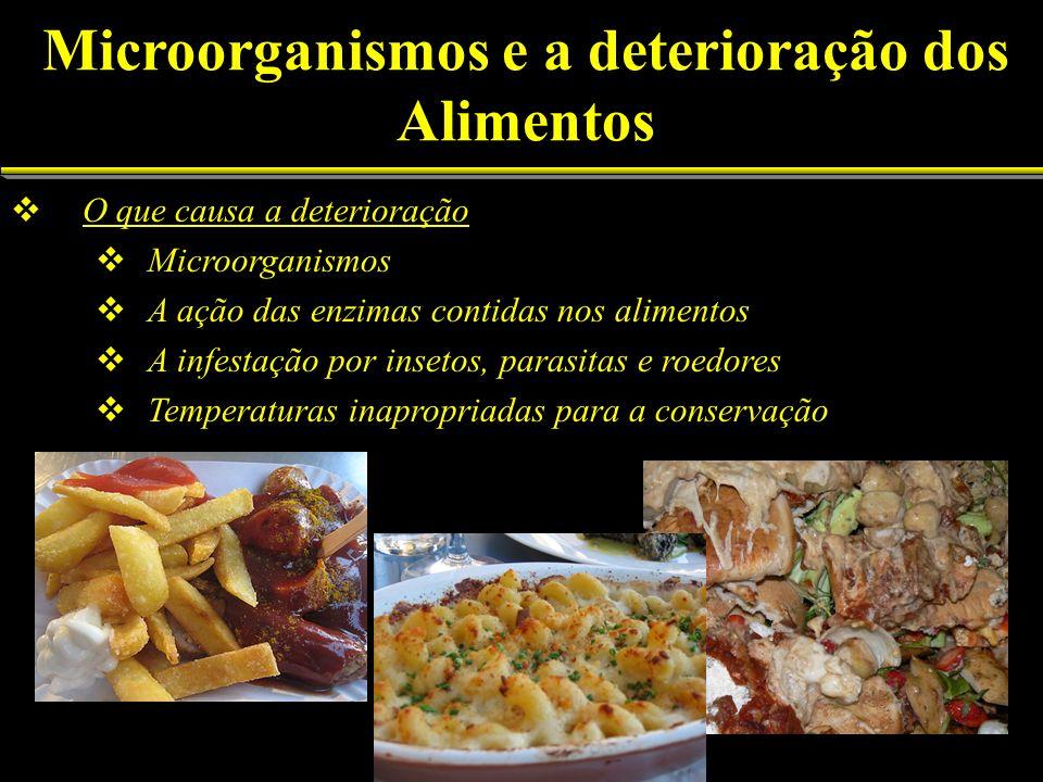 O que causa a deterioração Microorganismos A ação das enzimas contidas nos alimentos A infestação por insetos, parasitas e roedores Temperaturas inapr