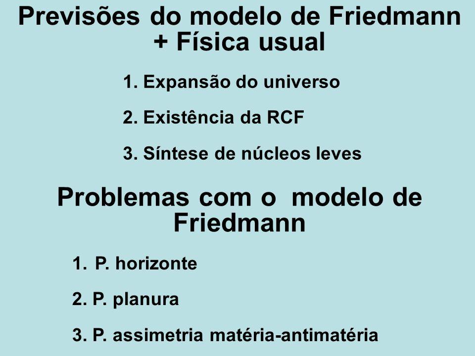 Previsões do modelo de Friedmann + Física usual 1. Expansão do universo 2. Existência da RCF 3. Síntese de núcleos leves 1. P. horizonte 2. P. planura