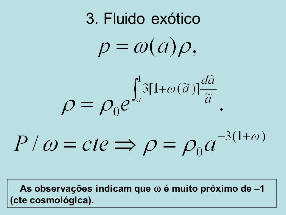 3. Fluido exótico As observações indicam que é muito próximo de –1 (cte cosmológica).