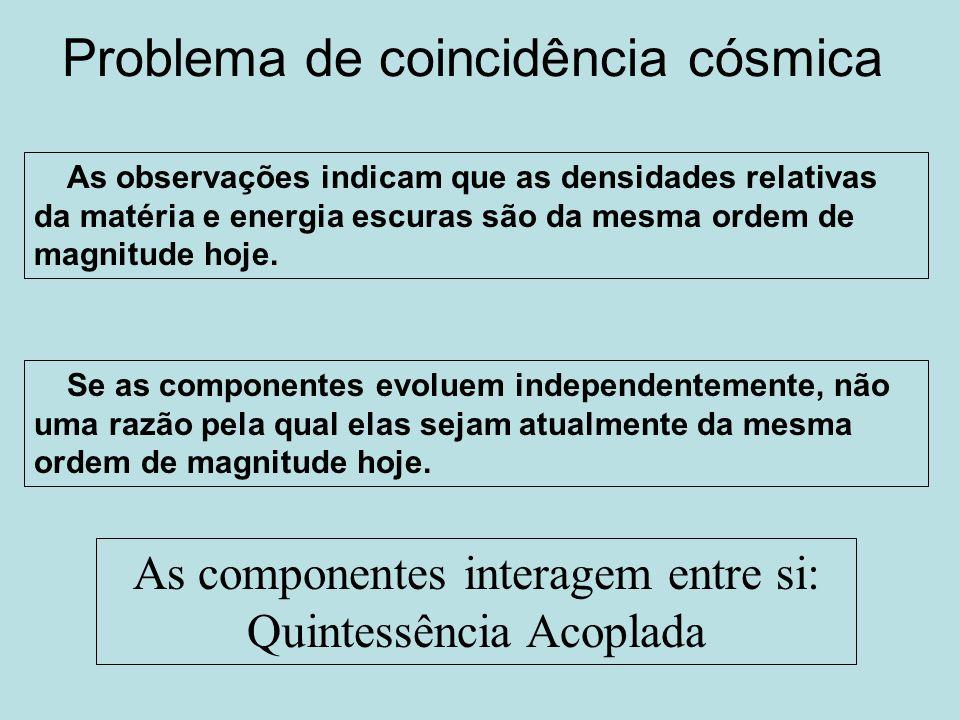 Problema de coincidência cósmica As observações indicam que as densidades relativas da matéria e energia escuras são da mesma ordem de magnitude hoje.