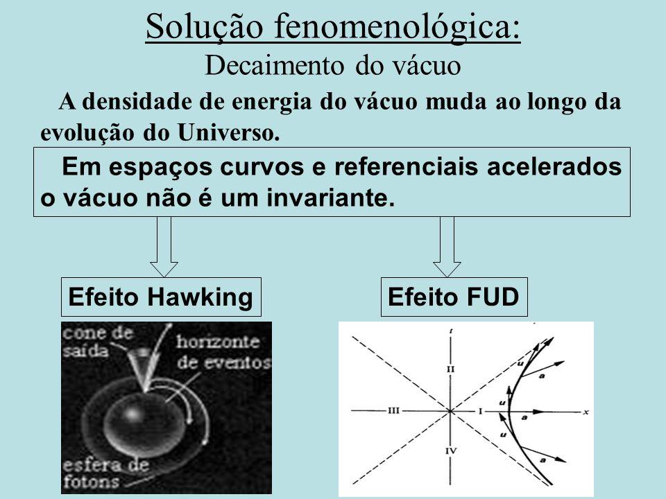 Solução fenomenológica: Decaimento do vácuo A densidade de energia do vácuo muda ao longo da evolução do Universo. Em espaços curvos e referenciais ac