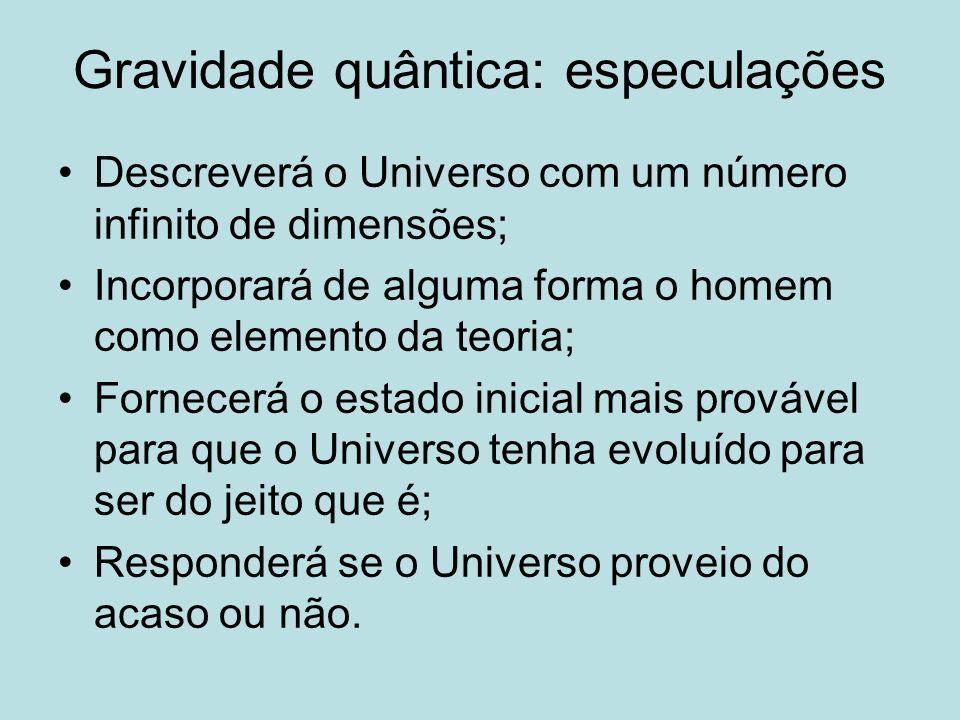 Gravidade quântica: especulações Descreverá o Universo com um número infinito de dimensões; Incorporará de alguma forma o homem como elemento da teori