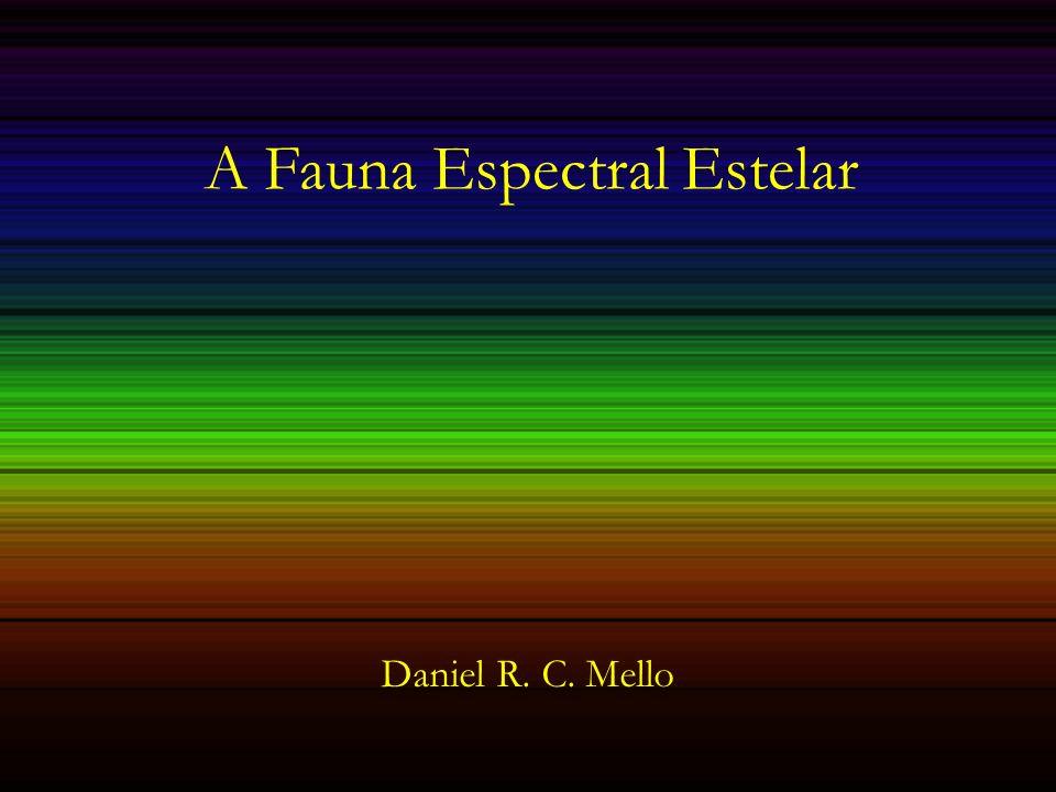 A fauna espectral II – Outras espécies Efeito logg (evolutivo): Outros habitats no diagrama HR Critério de classificação: EW e asas das linhas de H, linhas OII, SiIII logg=2.70 logg=2.73 logg=3.50 logg=4.12
