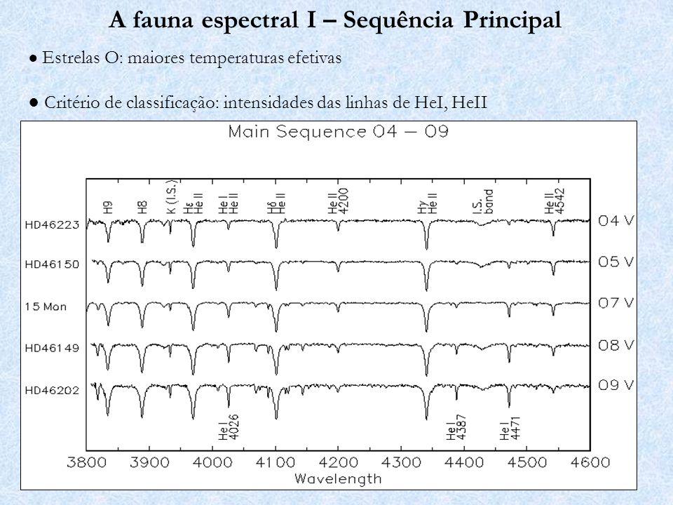 A fauna espectral I – Sequência Principal Estrelas B: Linhas de HeI intensas Critério de classificação: HeI4471/MgII4481, entre outros.