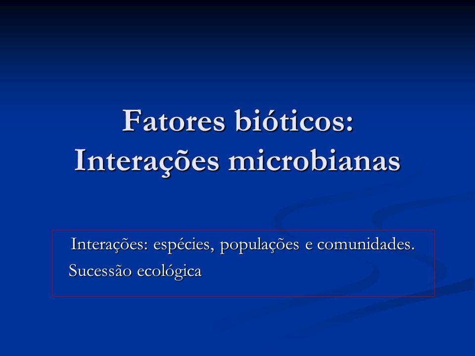 Fatores bióticos: Interações microbianas Interações: espécies, populações e comunidades. Sucessão ecológica