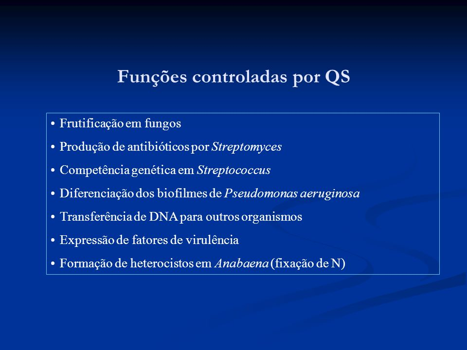 Funções controladas por QS Frutificação em fungos Produção de antibióticos por Streptomyces Competência genética em Streptococcus Diferenciação dos bi