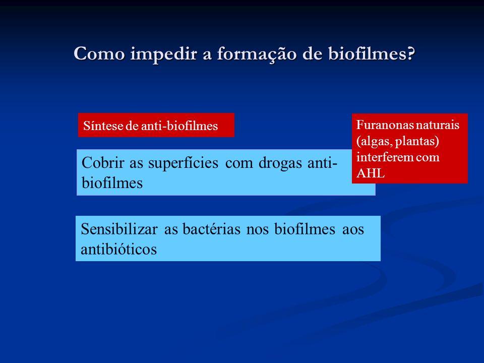 Como impedir a formação de biofilmes? Cobrir as superfícies com drogas anti- biofilmes Sensibilizar as bactérias nos biofilmes aos antibióticos Furano