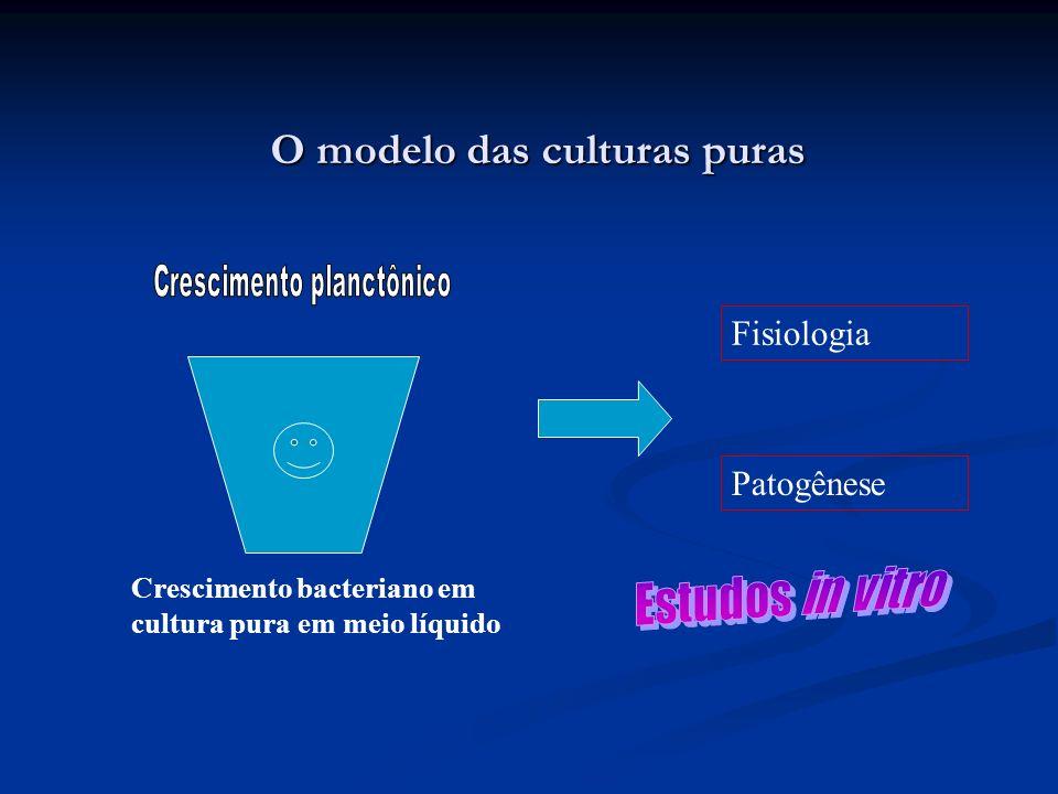 O modelo das culturas puras Crescimento bacteriano em cultura pura em meio líquido Patogênese Fisiologia