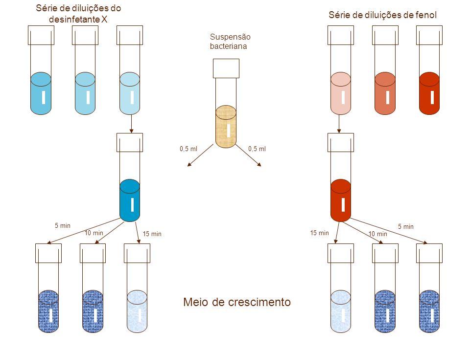 Série de diluições do desinfetante X Série de diluições de fenol 0,5 ml Suspensão bacteriana 5 min 10 min 15 min 5 min 10 min 15 min Meio de crescimen