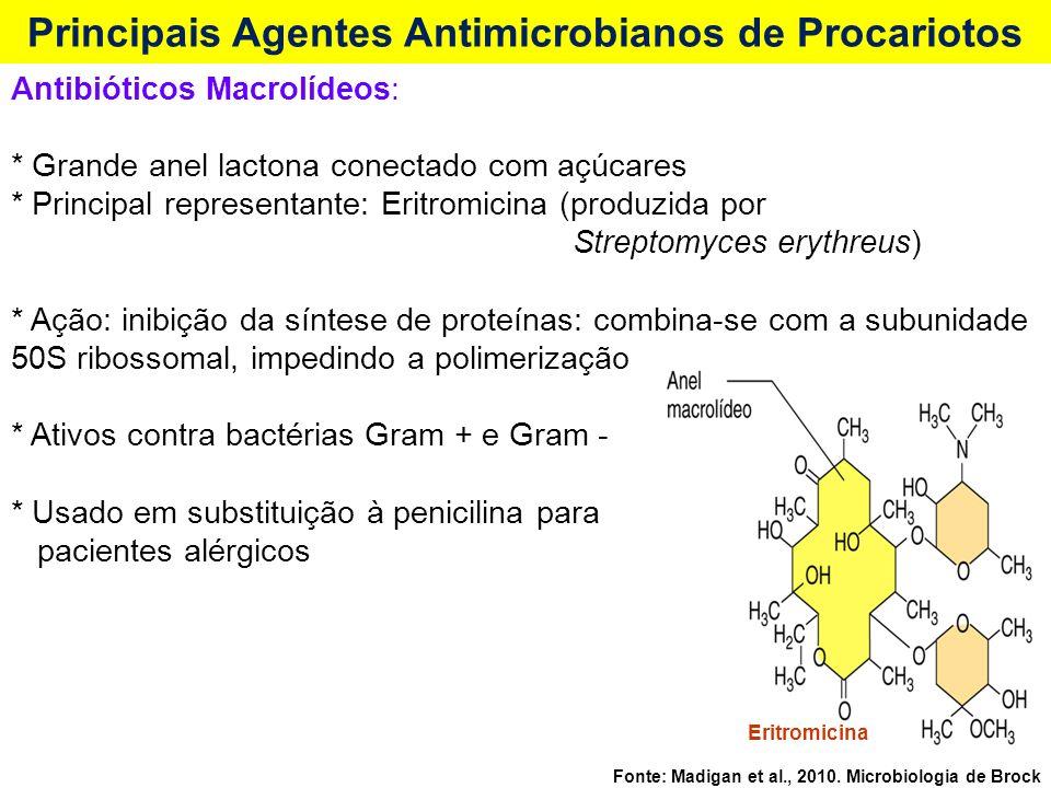 Eritromicina Fonte: Madigan et al., 2010. Microbiologia de Brock Principais Agentes Antimicrobianos de Procariotos Antibióticos Macrolídeos: * Grande