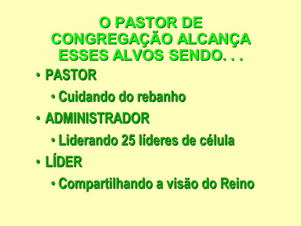 O PASTOR DE CONGREGAÇÃO ALCANÇA ESSES ALVOS SENDO...