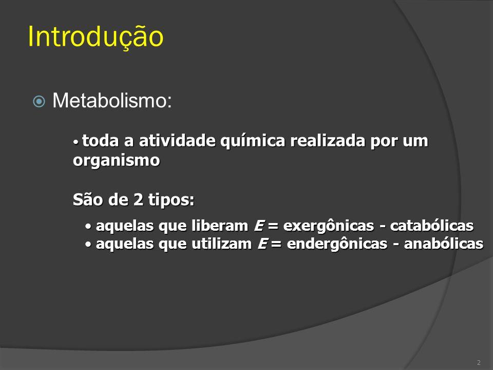 Introdução Metabolismo: toda a atividade química realizada por um organismo toda a atividade química realizada por um organismo São de 2 tipos: aquela