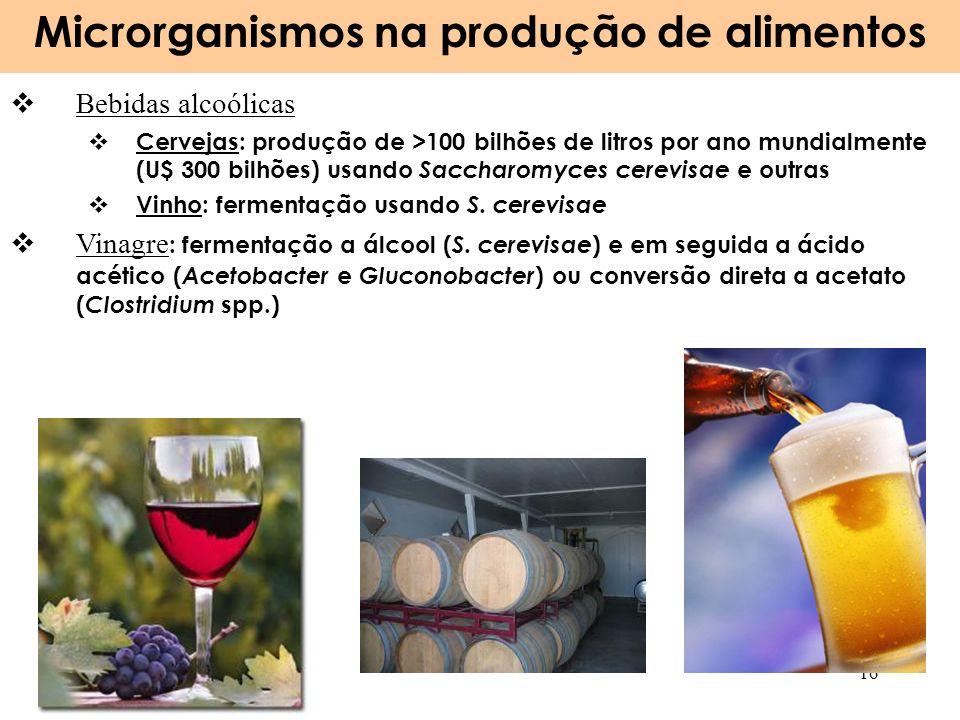Microrganismos na produção de alimentos 16 Bebidas alcoólicas Cervejas: produção de >100 bilhões de litros por ano mundialmente (U$ 300 bilhões) usand