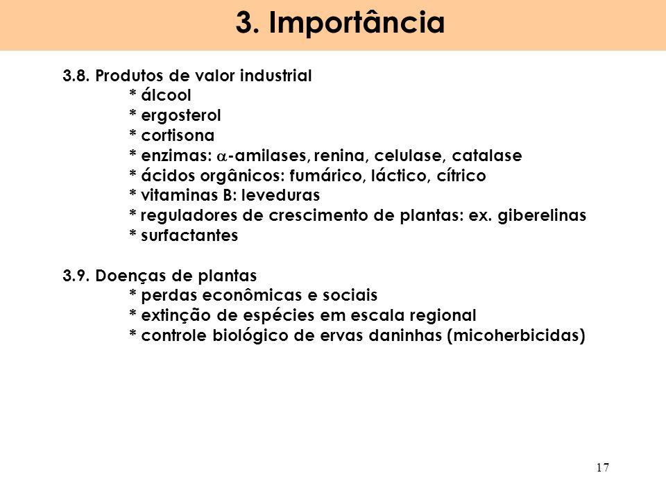 3. Importância 17 3.8. Produtos de valor industrial * álcool * ergosterol * cortisona * enzimas: -amilases, renina, celulase, catalase * ácidos orgâni