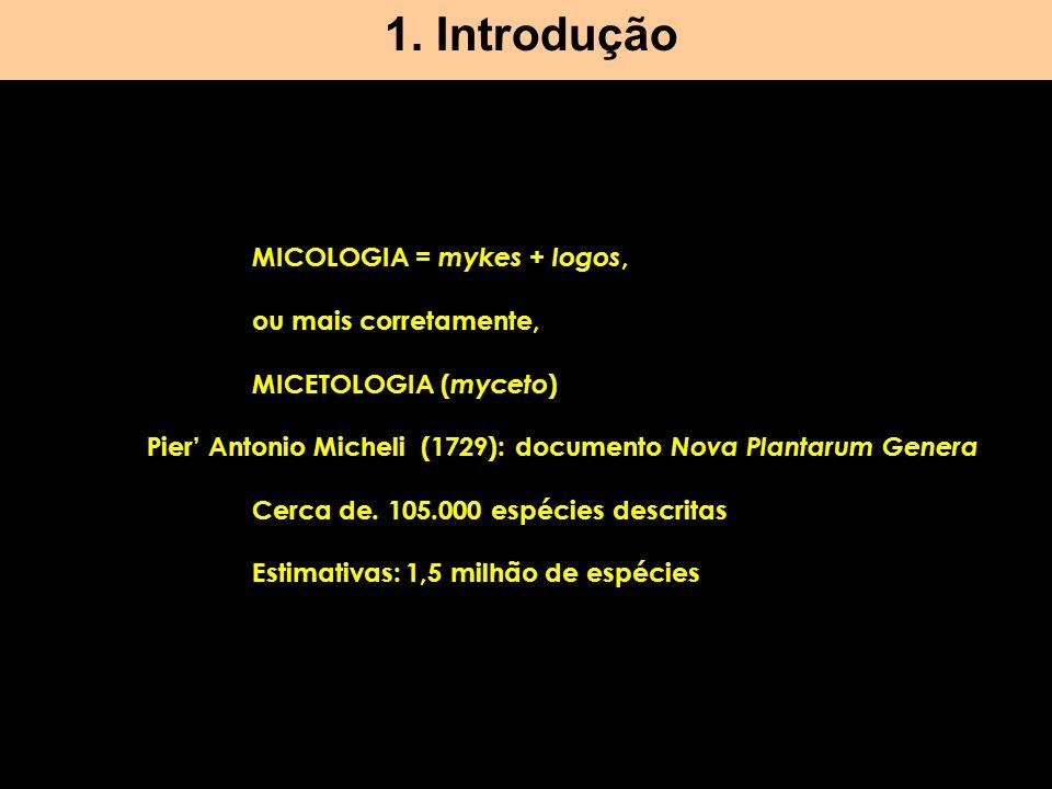 1. Introdução MICOLOGIA = mykes + logos, ou mais corretamente, MICETOLOGIA ( myceto ) Pier Antonio Micheli (1729): documento Nova Plantarum Genera Cer