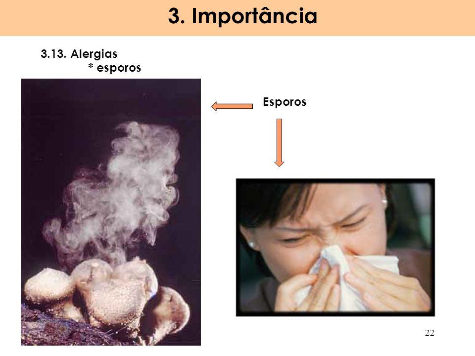 3.13. Alergias * esporos 3. Importância 22 Esporos