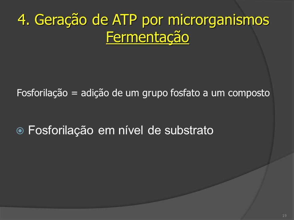 Fosforilação em nível de substrato 4. Geração de ATP por microrganismos Fermentação Fosforilação = adição de um grupo fosfato a um composto 19