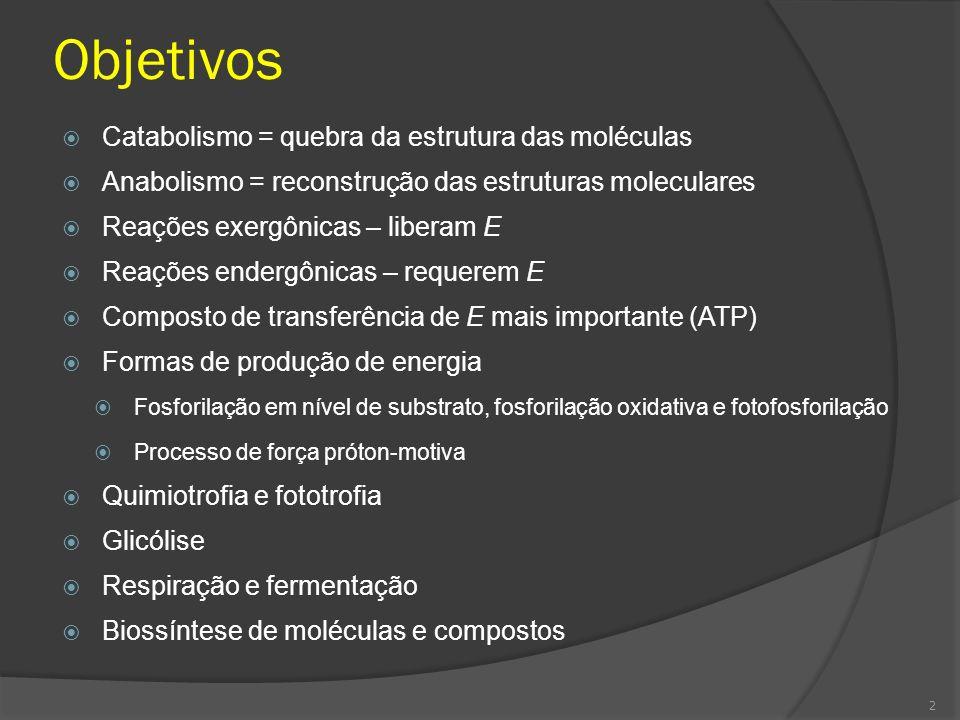 Objetivos Catabolismo = quebra da estrutura das moléculas Anabolismo = reconstrução das estruturas moleculares Reações exergônicas – liberam E Reações