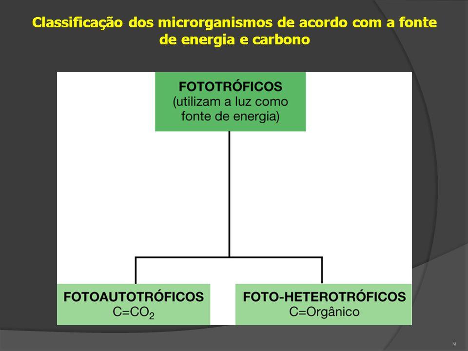 Tipo fisiológicoFonte de EnergiaFonte de Carbono FotoLuz QuimioQuímica Organotrófico/heterotróficoMoléculas orgânicas Autotrófico/litotróficoMoléculas inorgânicas 10 Fotoautotrófico = plantas, cianobactérias, algas verdes Fotoorganotrófico/hetero = bactérias púrpuras, exceto as abaixo Fotolitotróficas = bactérias púrpuras metabolizantes do S Quimioautotrófico = Archaea metanogênicas Quimiorganotrófico/hetero = maioria bactérias e fungos Quimiolitotrófico = bactérias nitrificadoras