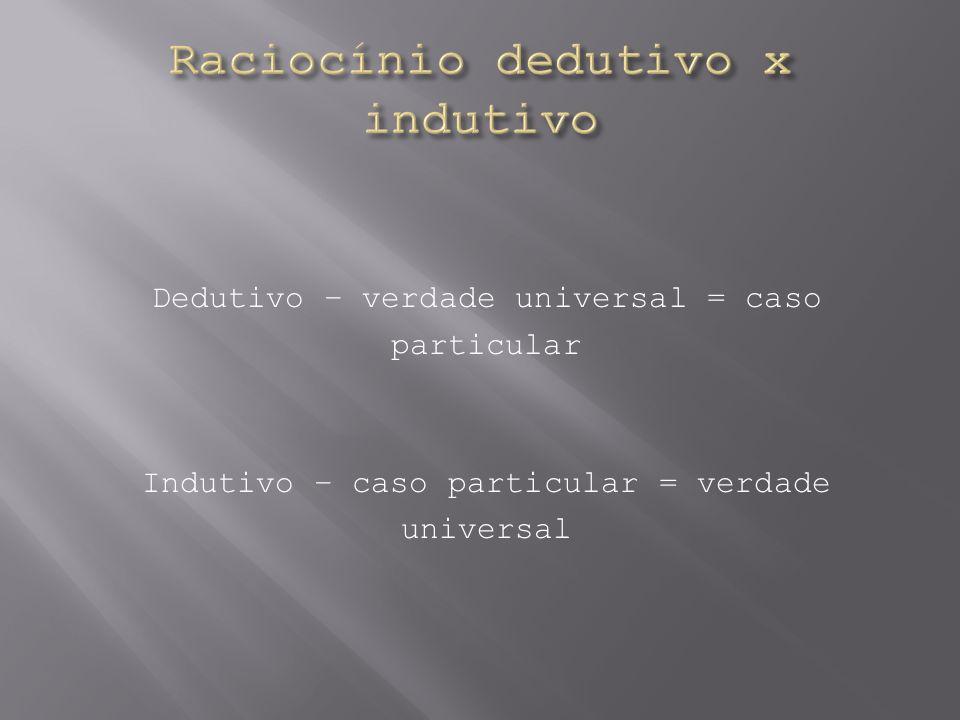 Dedutivo – verdade universal = caso particular Indutivo – caso particular = verdade universal