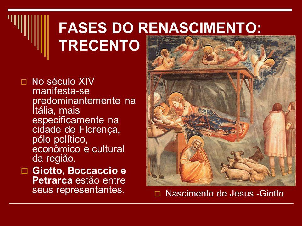 FASES DO RENASCIMENTO: TRECENTO N o século XIV manifesta-se predominantemente na Itália, mais especificamente na cidade de Florença, pólo político, ec