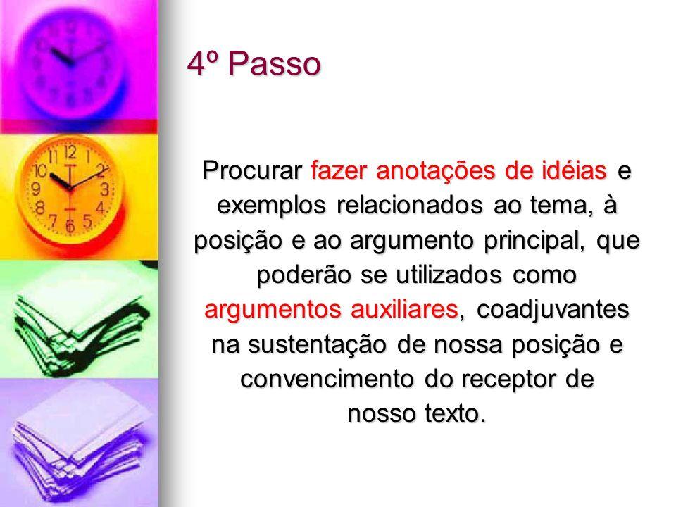 4º Passo Procurar fazer anotações de idéias e exemplos relacionados ao tema, à posição e ao argumento principal, que poderão se utilizados como argume