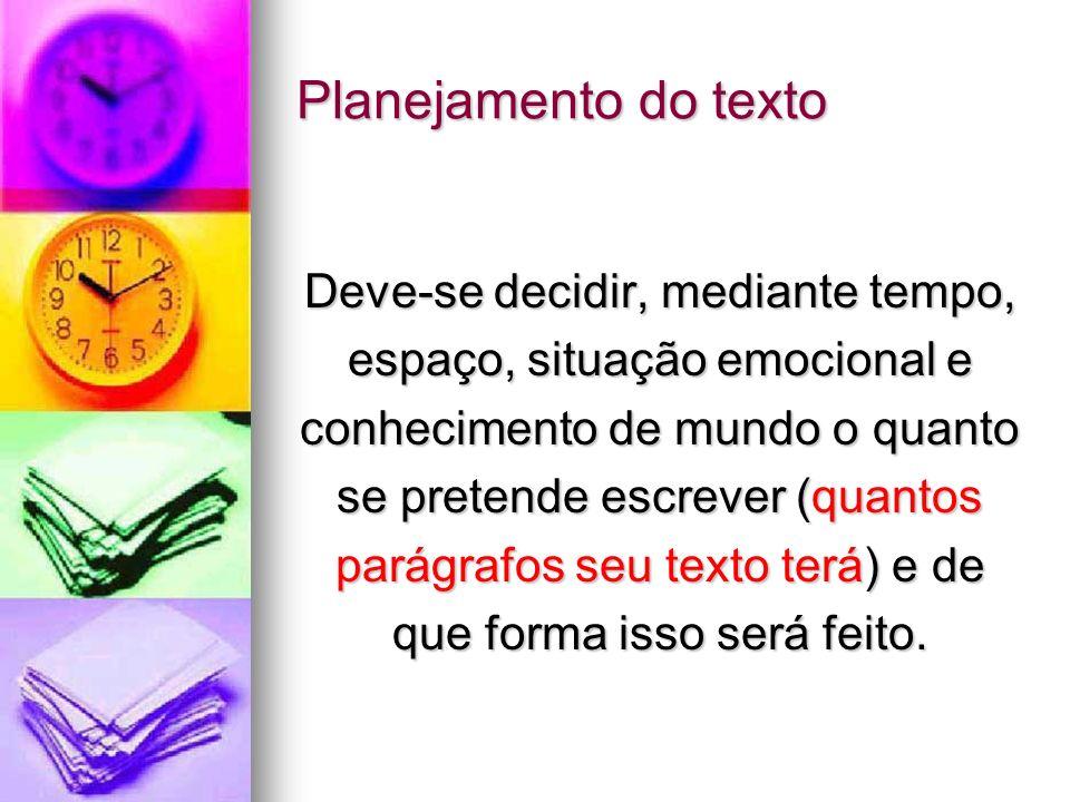 Planejamento do texto Deve-se decidir, mediante tempo, espaço, situação emocional e conhecimento de mundo o quanto se pretende escrever (quantos parág