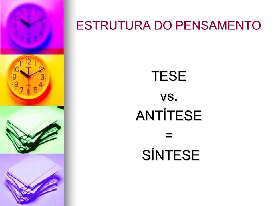 ESTRUTURA DO PENSAMENTO TESEvs.ANTÍTESE= SÍNTESE SÍNTESE