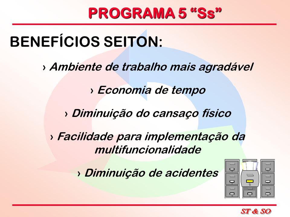 PROGRAMA 5 Ss BENEFÍCIOS SEITON: Ambiente de trabalho mais agradável Economia de tempo Diminuição do cansaço físico Facilidade para implementação da m