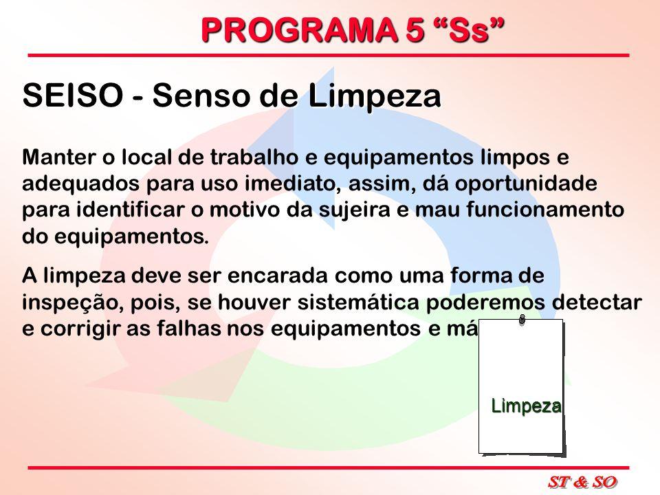 PROGRAMA 5 Ss SEISO - Senso de Limpeza Manter o local de trabalho e equipamentos limpos e adequados para uso imediato, assim, dá oportunidade para ide