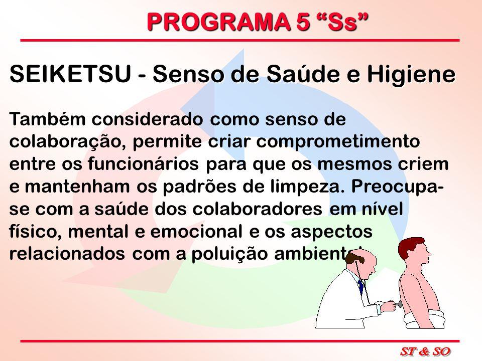 PROGRAMA 5 Ss SEIKETSU - Senso de Saúde e Higiene Também considerado como senso de colaboração, permite criar comprometimento entre os funcionários pa