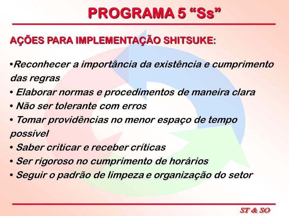 PROGRAMA 5 Ss AÇÕES PARA IMPLEMENTAÇÃO SHITSUKE: Reconhecer a importância da existência e cumprimento das regras Elaborar normas e procedimentos de ma