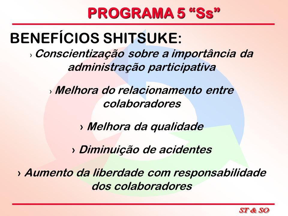 PROGRAMA 5 Ss BENEFÍCIOS SHITSUKE: Conscientização sobre a importância da administração participativa Melhora do relacionamento entre colaboradores Me