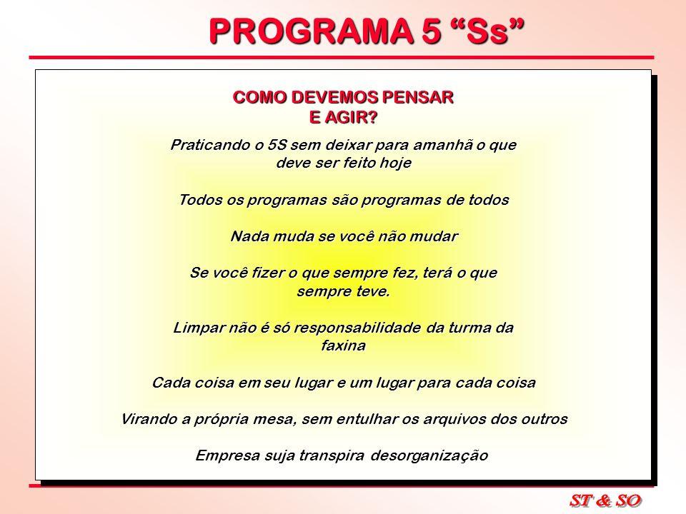 PROGRAMA 5 Ss COMO DEVEMOS PENSAR E AGIR? Praticando o 5S sem deixar para amanhã o que deve ser feito hoje Todos os programas são programas de todos N