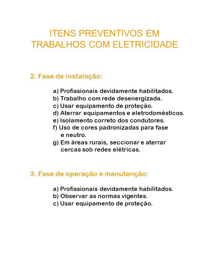 ITENS PREVENTIVOS EM TRABALHOS COM ELETRICIDADE 2. Fase de instalação: a) Profissionais devidamente habilitados. b) Trabalho com rede desenergizada. c