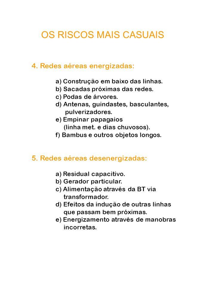 OS RISCOS MAIS CASUAIS 4. Redes aéreas energizadas: a) Construção em baixo das linhas. b) Sacadas próximas das redes. c) Podas de árvores. d) Antenas,