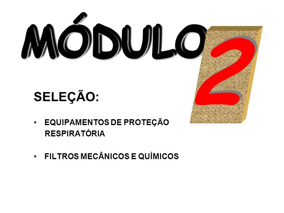 MÓDULO MÓDULO MÓDULO SELEÇÃO: EQUIPAMENTOS DE PROTEÇÃO RESPIRATÓRIA FILTROS MECÂNICOS E QUÍMICOS 2 2