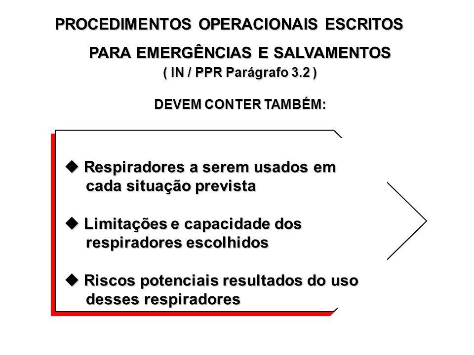 PROCEDIMENTOS OPERACIONAIS ESCRITOS - USO ROTINEIRO ( IN / PPR Parágrafo 3.1 ) OS PROCEDIMENTOS ESCRITOS DEVEM COBRIR O PROGRAMA COMPLETO E INCLUIR, N