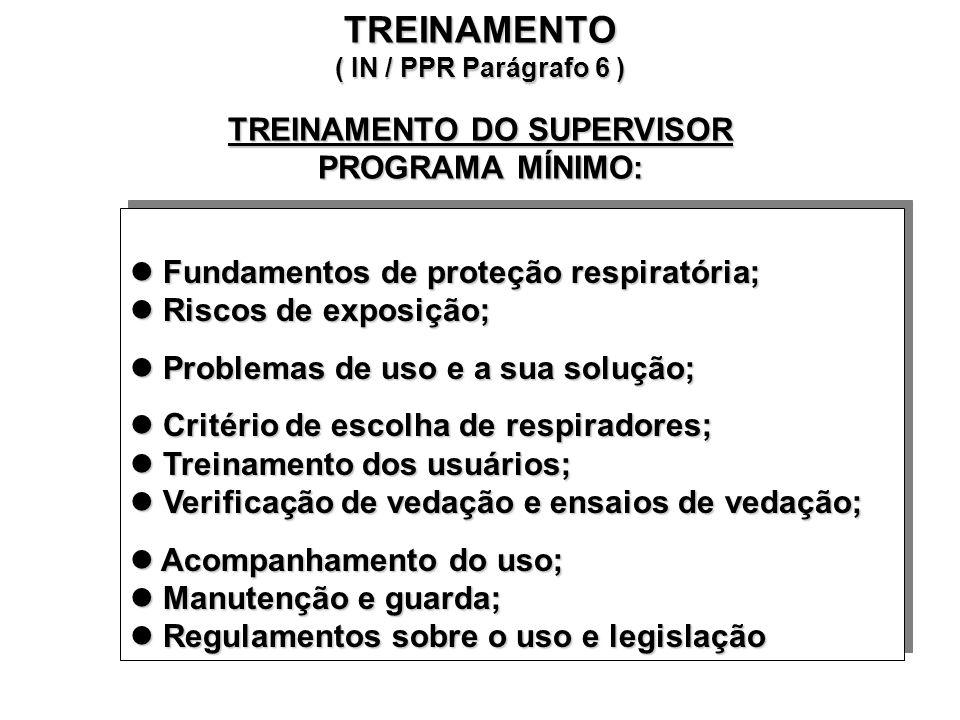 Respiradores a serem usados em cada situação prevista Limitações e capacidade dos respiradores escolhidos Riscos potenciais resultados do uso desses r