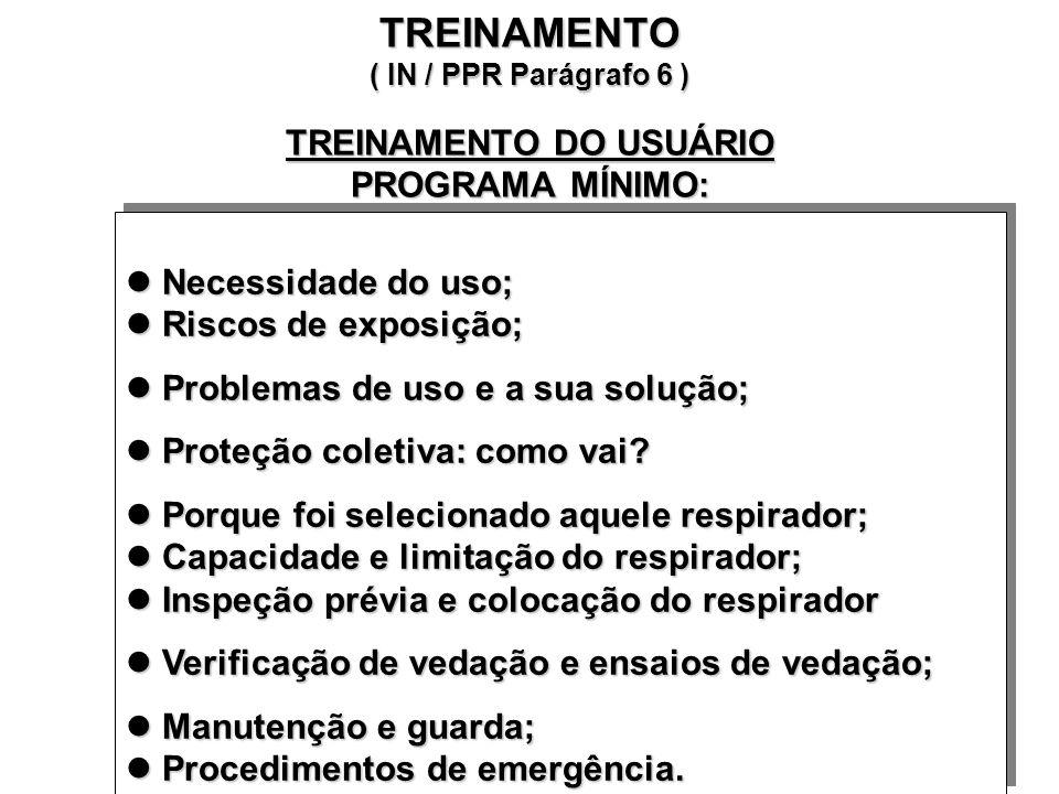 TREINAMENTO ( IN / PPR Parágrafo 6 ) TREINAMENTO DO SUPERVISOR PROGRAMA MÍNIMO: Fundamentos de proteção respiratória; Riscos de exposição; Fundamentos