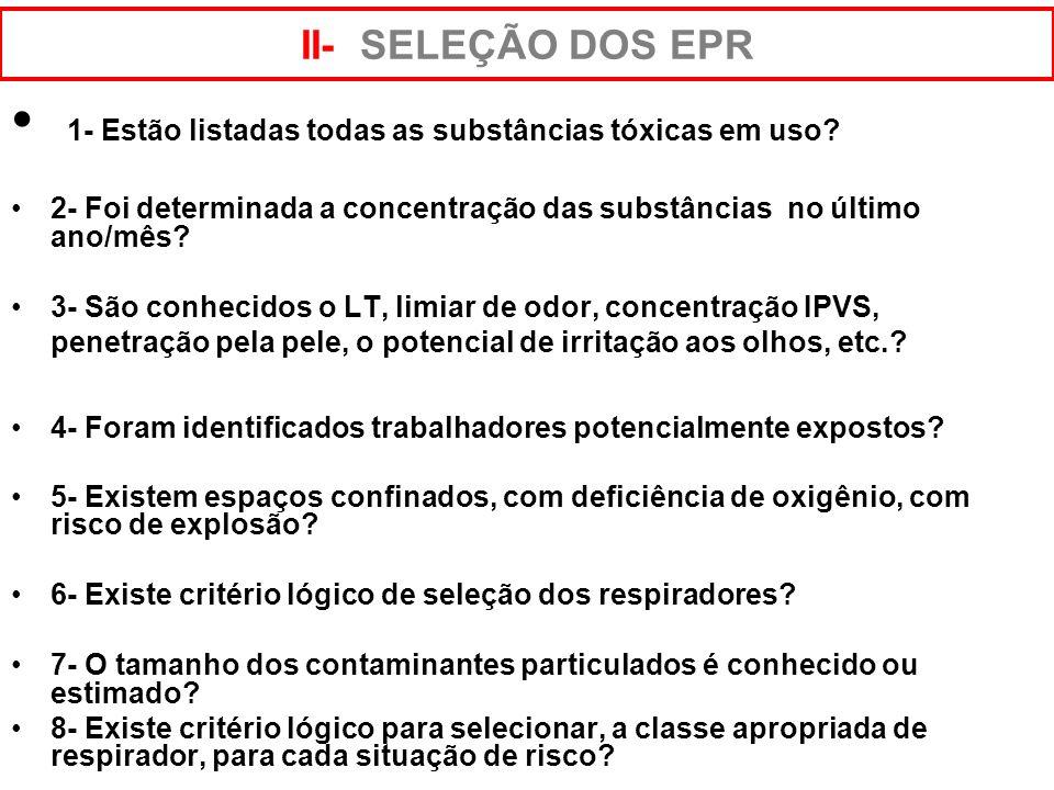1- Existe procedimento escrito sobre o PPR? 2- Os procedimentos escritos fazem referência à: - Seleção de respirador? - Treinamento e reciclagem regul